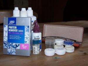 collection of contact lens paraphernalia