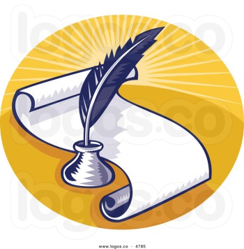 royalty-free-vector-of-a-writing-feather-quill-and-scroll-logo-by-patrimonio-4785